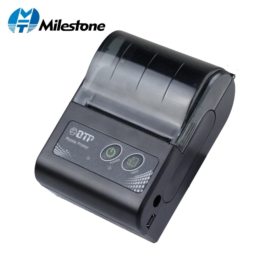 Milestone 58MM Mini Bluetooth Printer Thermal Portable Wireless Receipt bill ticket Android IOS Pocket Printer small MHT-P10