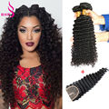 8A Virgin Indian Hair With Closure Deep Wave With Closure And Bundles Bundle Deals With Closure Hair Bundles With Closure