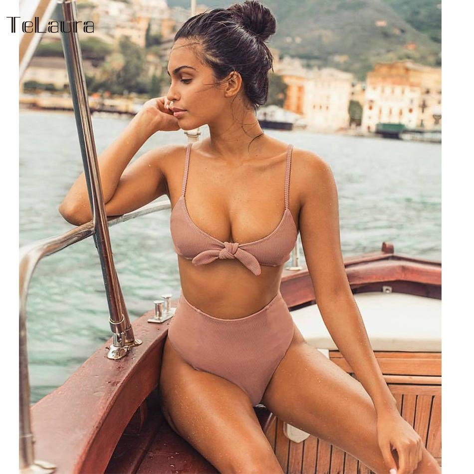 2018 Sexy High Waist Bikini Women Swimsuit Push Up Swimwear Knot Bikini Set Summer Beachwear Biquini Bathing Suit Solid Female
