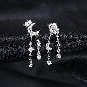 Image 2 - JewelryPalace スタームーンキュービックジルコニアブラブラドロップピアス 925 スターリングシルバーイヤリング女性韓国イヤリングファッションジュエリー