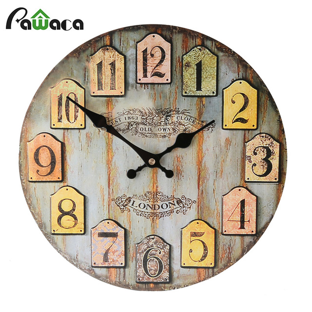 12 Inch Vintage Wood Wall Clock Home Office Cafe Decoration Rustic Shabby Chic Wooden