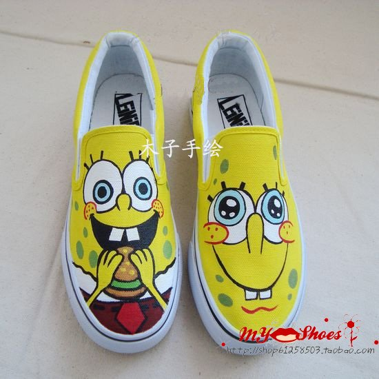 ... Spongebob Free shippingHand Painted shoeskids boys girls men women shoes  . ... 7d91f9e7a2