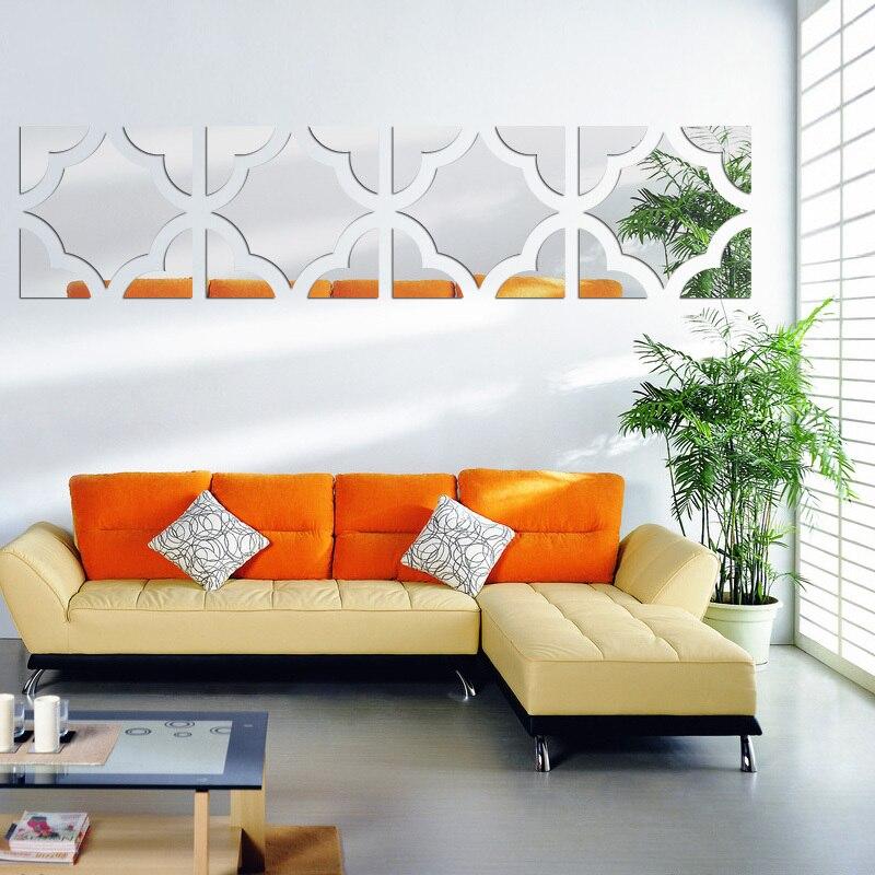 Moda Acrylic3d pegatinas de pared adesivos de parede grande adesivo de parede decoração de casa diy espelho adesivo arte da parede design moderno