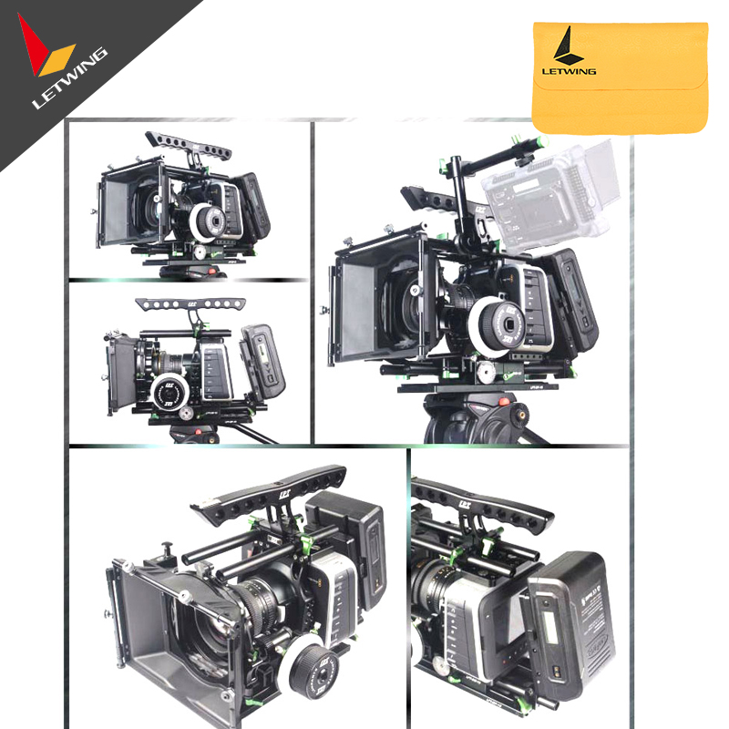 Lanparte Luxury BMCC-03 Top Handle Cage + V-Mount VB-150 Battery + Quick Release Shoulder Support Baseplate A/B Follow Focus
