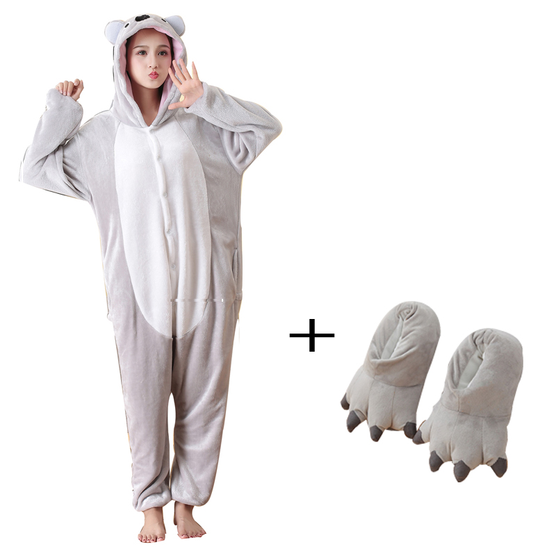 Funny Koala Animal Pajamas Onesies For Adults One-piece Bodysuit Women Sleepwear With Slippers Cosplay Costume For Halloween