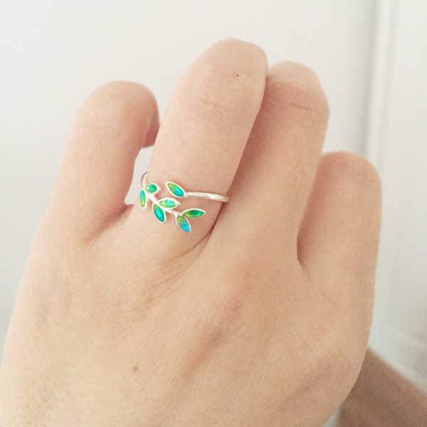 2019 เคลือบสีเขียว Olive สาขาใบเปิดแหวนผู้หญิงเลดี้แฟชั่นปรับเครื่องประดับ Peaceful ใบแหวนมรกต