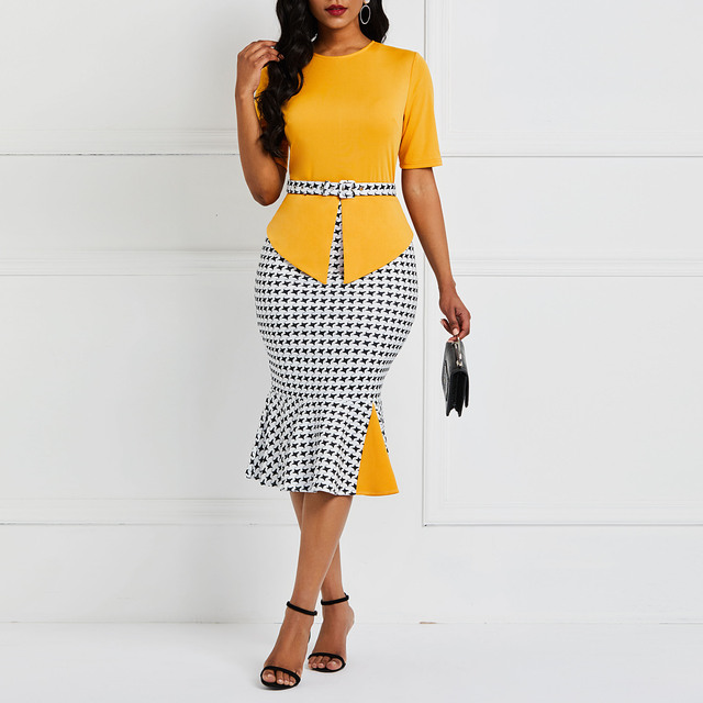 Office Dress Women Patchwork Plaid Mermaid Stylish Red Street Slim Ruffles Summer Ladies Yellow Casual Work Sexy Bodycon Dresses