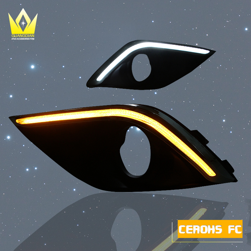 1set Car DRL Daytime Running Lights Auto Led Bulb White Daylight With Yellow Turn Signal Lamp For Mitsubishi Outlander 2015 2016 1set car accessories daytime running lights with yellow turn signals auto led drl for volkswagen vw scirocco 2010 2012 2013 2014