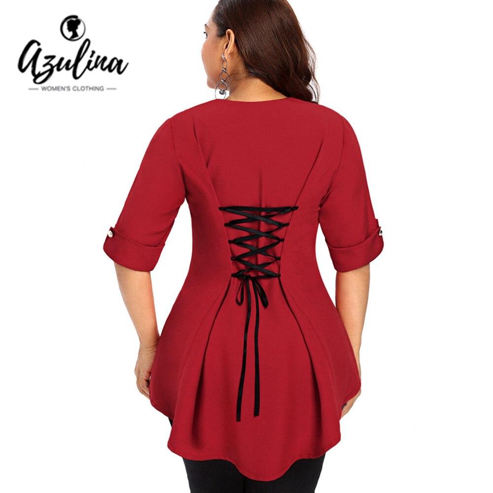 AZULINA Plus Size Buttons Lace Up Dip Hem Top Autumn Square Neck Half Sleeve Color Block Women   Blouse   Summer   Blouses     Shirts   5XL