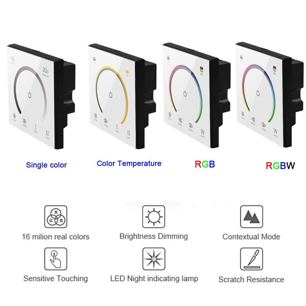 LED Wall Touch Panel RGB Controller Dimmer TM08 Full Color 12-24V 12A-3 Channels