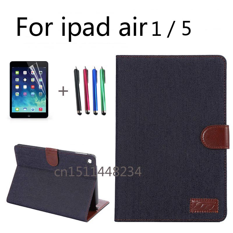 High quality business cowboy PU leather case For Apple iPad 5 ipad air case cover Autosleep, autowake,stand function,Black, blue for apple ipad air 2 pu leather case luxury silk pattern stand smart cover