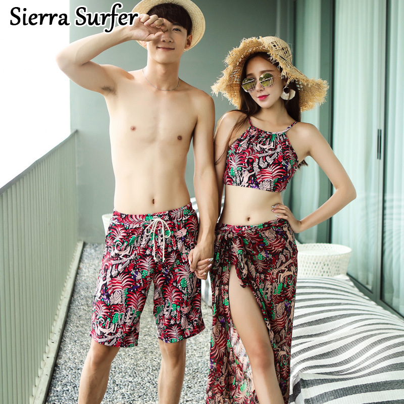 Bikini Set Swimming Suit For Women Top Xxl Push Up Tops 2018 Couples Swimwear New Swimsuit Lovers Woman 4 Men Beach Pants 1812
