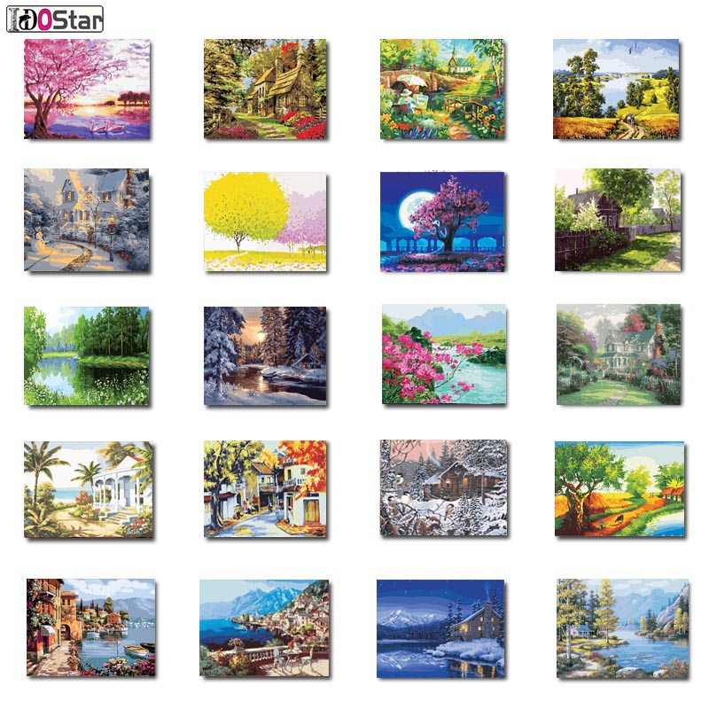 Natural Scenery Painting By Numbers Of Handwork Canvas Oil Painting Home Decor For Living Room