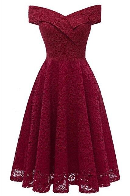 Коктейльные платья сексуальное бордовое кружевное короткое платье для вечеринки длиной до колена ТРАПЕЦИЕВИДНОЕ ПЛАТЬЕ С v-образным вырезом без рукавов - Цвет: Burgundy