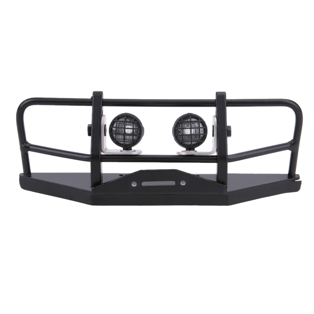 Professional RC Car Front Bumper with Lampshade Metal Replacement Bumper Light Defender for Axial SCX10 D90 1/10 RC4WD rc truck front bull bar front bull bar metal bumper light defender for 1 10 rc4wd d90 axial scx10