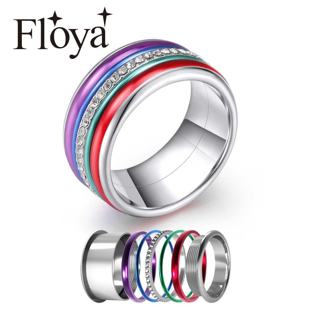 Floya del arco iris, las mujeres intercambiables anillo de boda de aluminio Multicolor accesorios girar Ártico colección Sinfonía anillo