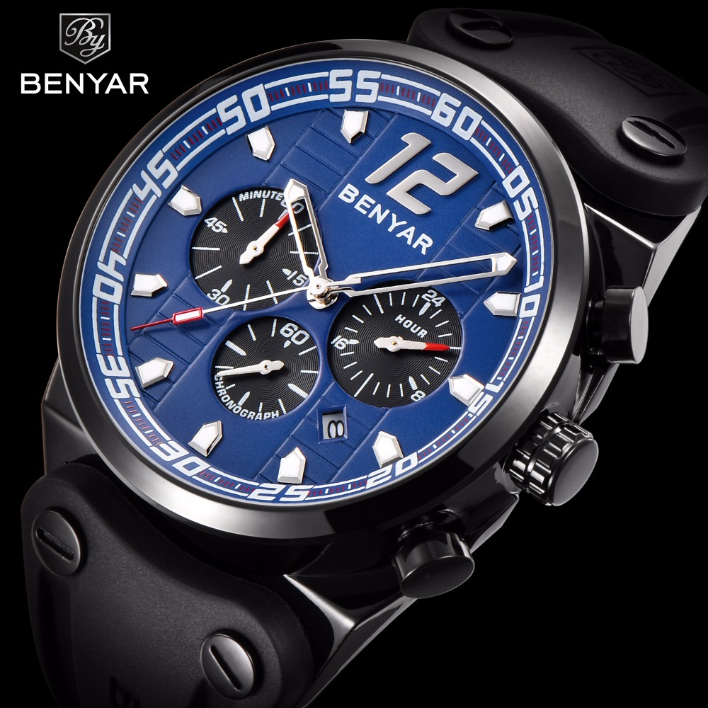 BENYAR Top Brand Sport Chronograph Mens Watches Luxury Silicone Strap Quartz Watch Men Waterproof Male Clock Relogio Masculino reef tiger brand men s luxury swiss sport watches silicone quartz super grand chronograph super bright watch relogio masculino