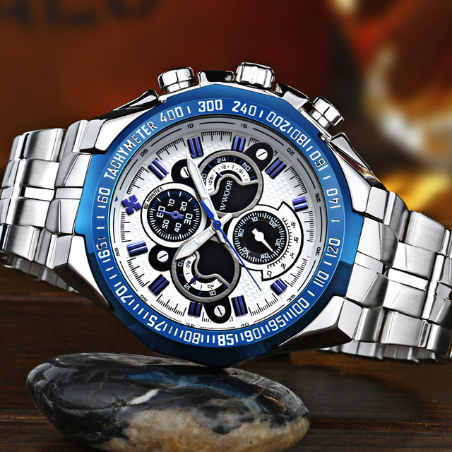 Luxury WWOOR Stainless Steel Watch For Men Military Style Big Dial