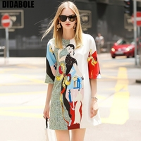 DIDABOLE Autumn 2019 New European and American Women's Dresses Loose Printed Dresses with Round Neckle and Middle Sleeve Nail Be