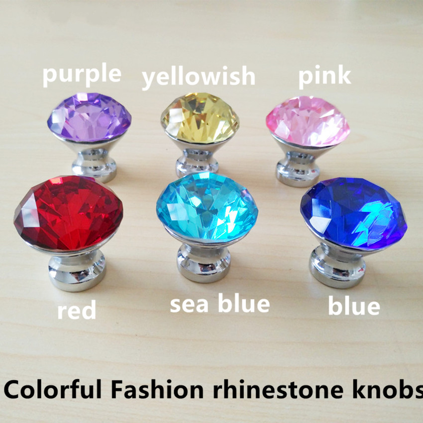 colorful fashion rhinestone drawer cabinet knobs pulls yellow red pink sea blue glass crystal dresser knobs silver chrome modern - Kitchen Knobs And Pulls