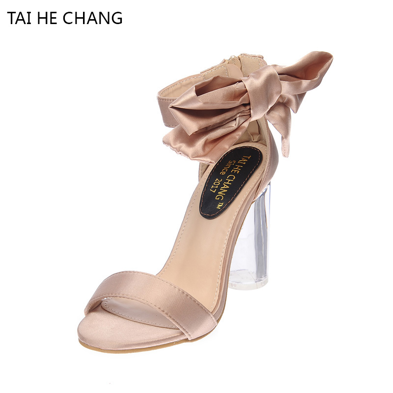 961-9 Champagne 2017 New With The Bow Sandals Summer Europe And United States Transparent Crystal Thick High Heels Women Shoes