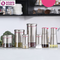 7pcs Home Use Glass Bottle And Stainless Steel PP Oil Vinegar Salt Pepper Shakers Spice Container