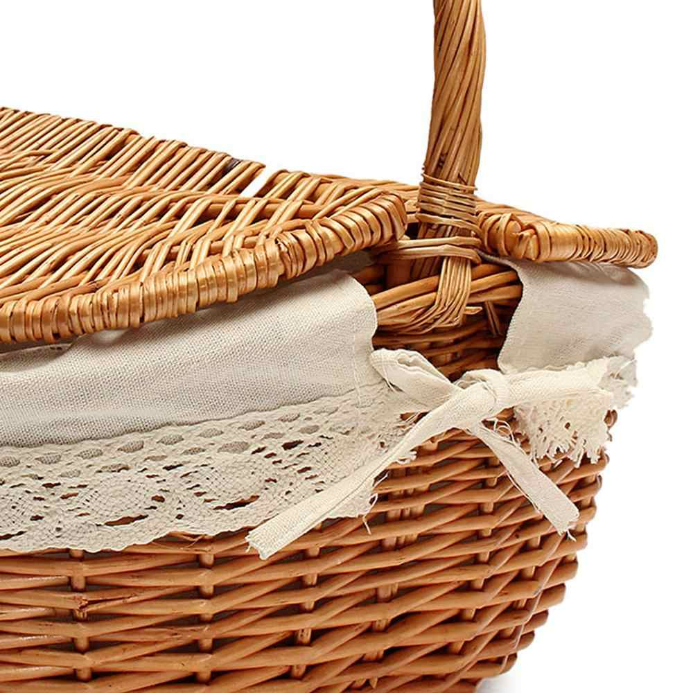 Bolsa de piquenique drenante, cesta de piquenique drenante com tampa e alça para compras, camping, piquenique, carregamento de comida
