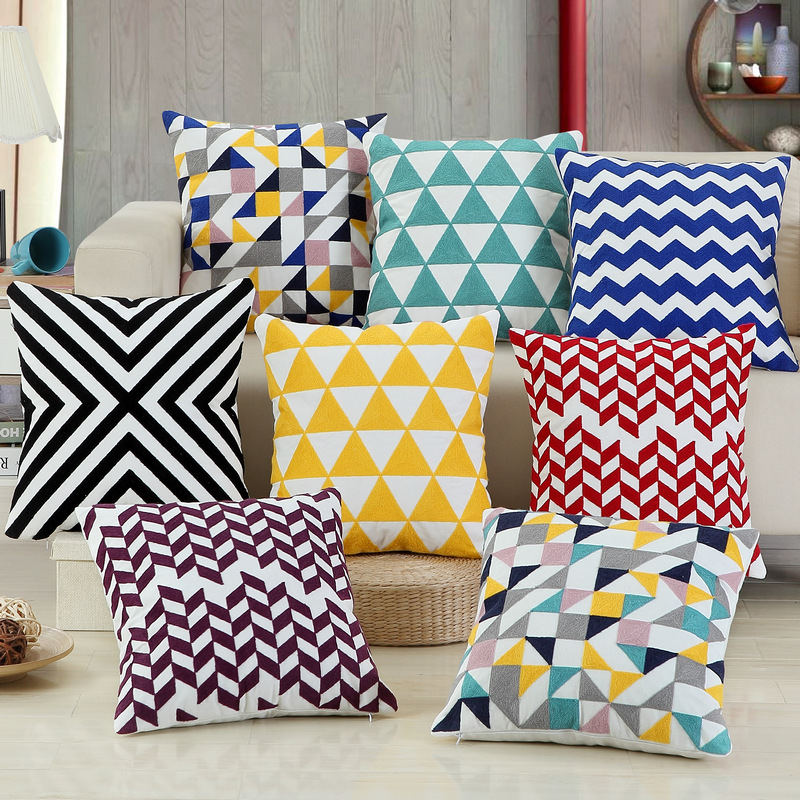100% Canvas Embroidered Cushion Cover Geometric Pattern Pillow Cover For Sofa Car Chair Cushion Case 45x45cm Without Stuffing