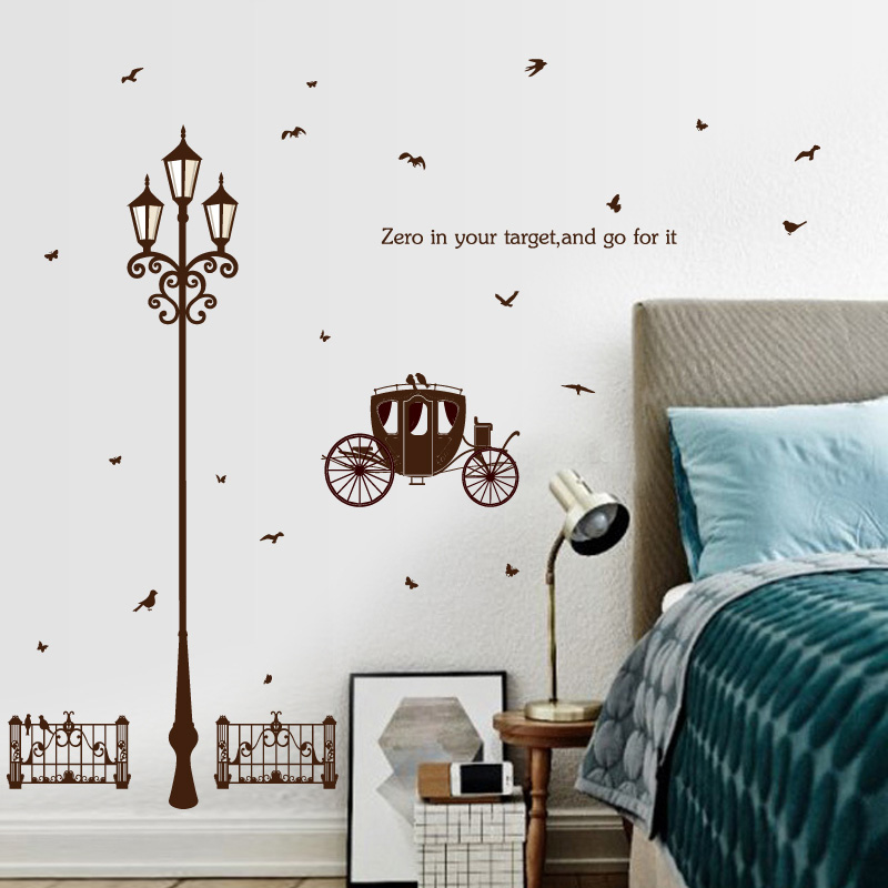 Fundecor Street Lamp Butterfly Sketch Wall Stickers Home Decor