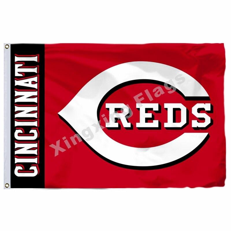 Cincinnati Reds Wordmark Flag 3ft X 5ft Polyester MLB Cincinnati Reds Banner Flying Size No.4 144* 96cm Custom Flag