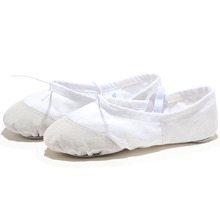 USHINE EU22-45 Leather Head Yoga Slippers Teacher Gym Indoor Exercise Canvas White Ballet Dance Shoes For Kids Girls Woman
