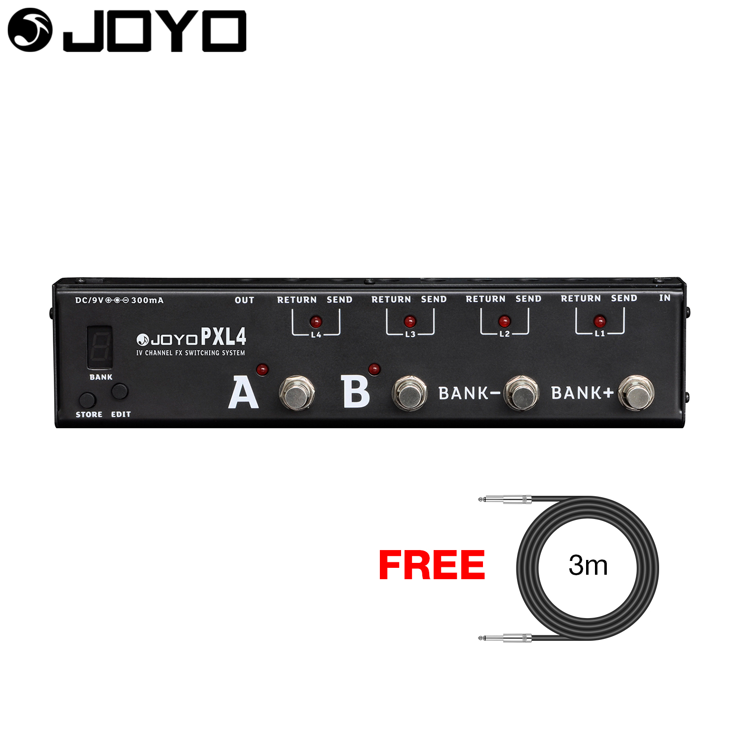 JOYO Multi-effects Guitar Effect Pedal Switcher Looper Programmable 4 Loop True Bypass PXL-4 with Free 3m Cable mooer ensemble queen bass chorus effect pedal mini guitar effects true bypass with free connector and footswitch topper