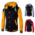 New! 2015 Autumn And Winter With A Hood Baseball Shirt Male Outerwear Teenage With A Hood Sweatshirt Cardigan