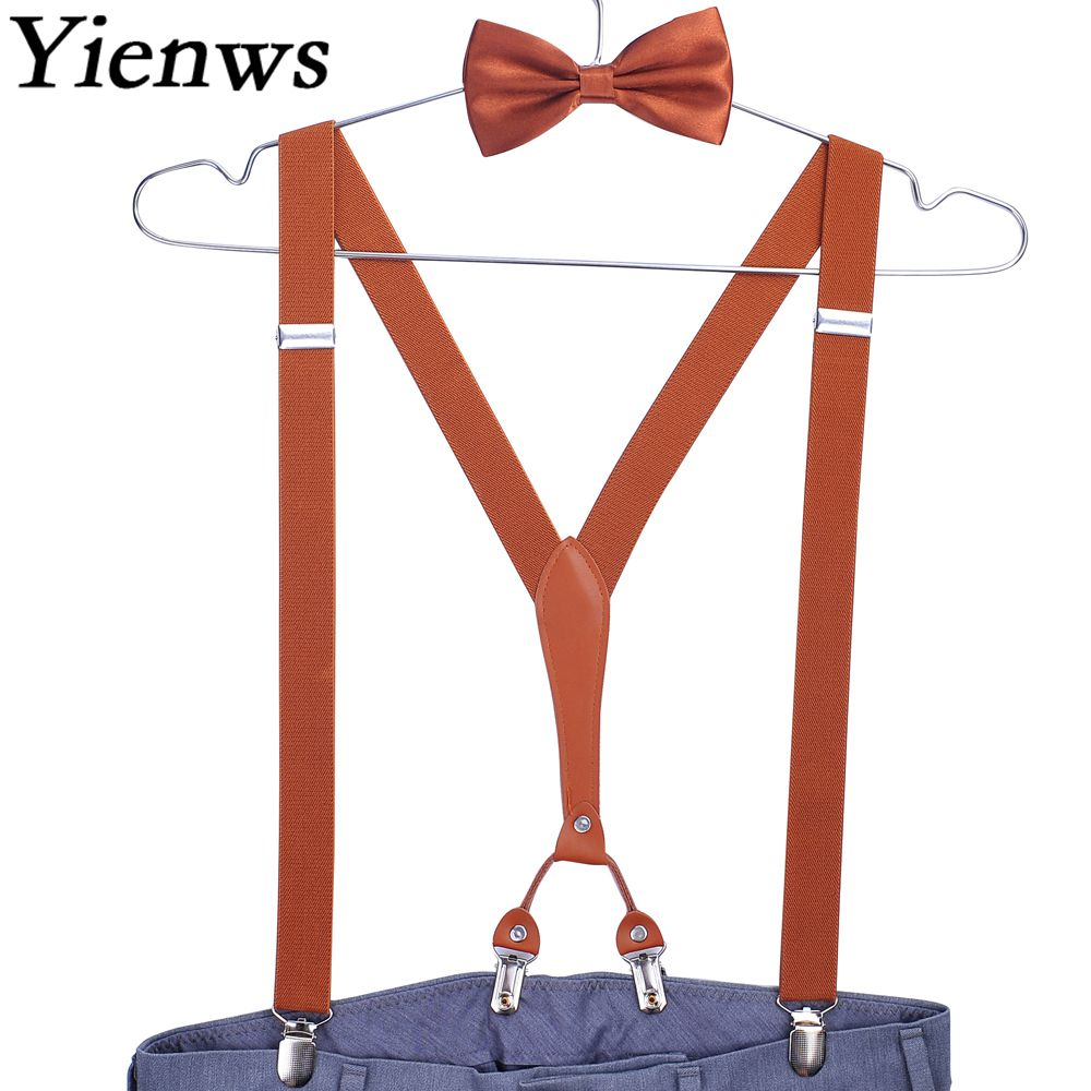 Yienws Bow Tie Suspenders For Men 4 Clip Pants Suspenders Male Butterfly Braces Male Navy Brown Suspensorio 2.5*115cm YiA104