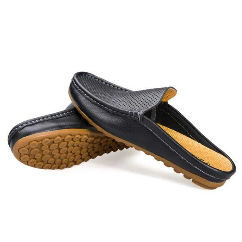 5eea2bb3c71c ... Handmade Genuine leather Men Slippers Summer Half drag Loafers Hollow  Out beach shoes Male Slides Flats ...