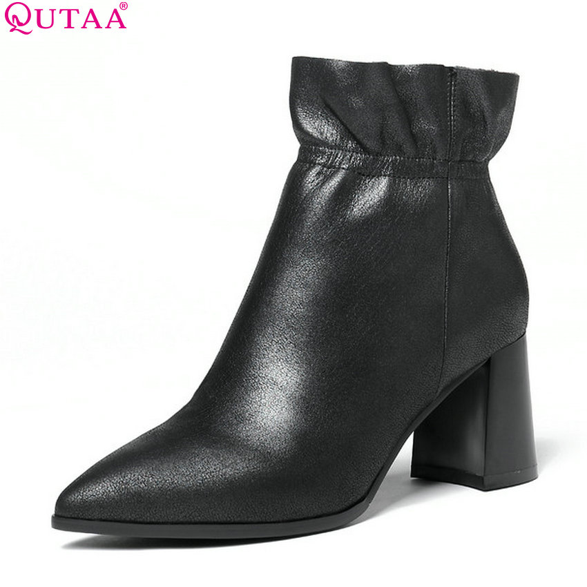 QUTAA 2019 Women Ankle Boots Genuine Leather+Pu Fashion Women Shoes Winter Boots Platform Women Motorcycle Boots Big Size 34-43 digoo dg bb 2hc durable double head 30cm usb charging power cable for dg mx10 tws wireless waterproof speaker