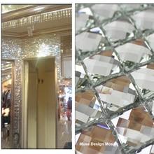 13 краев со скошенным кристаллом, алмазная блестящая зеркальная стеклянная мозаичная плитка для выставочного зала, настенная наклейка KTV, витрина для шкафа, сделай сам, украшение