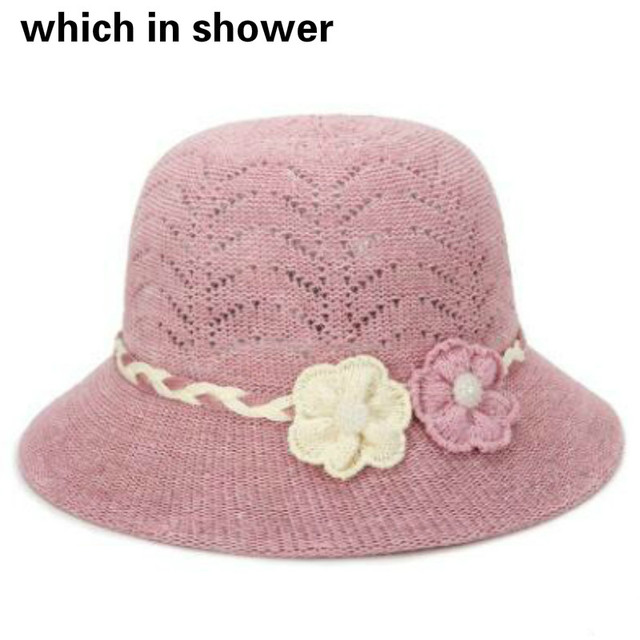 c008c136184 old women knitted sun hat solid color wide brim grandma summer panama  fashion flower outdoor sunscreen beach cap drop shipping