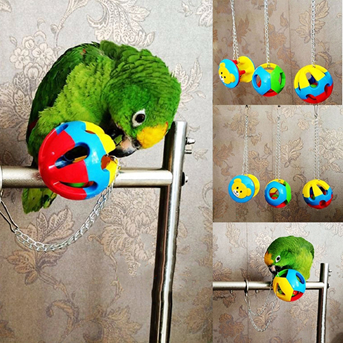 Cute Pet Bird Plastic Chew Ball Chain Cage Toy for Parrot Cockatiel Parakeet 2