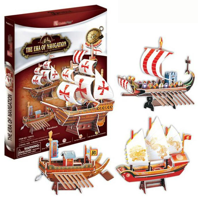 T0415 3D Puzzles China ancient sailing The era of navigation Paper Model Pirate Ship kids Creative gift Educational toys