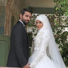 Vestido De Noiva 2017 White Muslim Wedding Dress Long Sleeve Appliques Lace High Neck Turkish Islamic Hijab Wedding Bridal Gowns