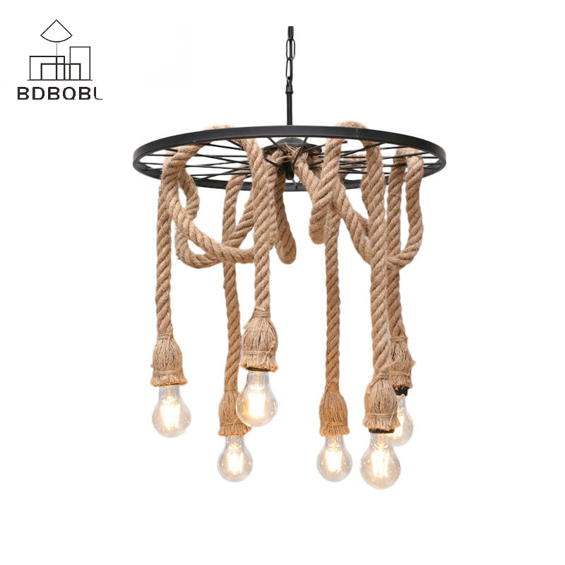 BDBQBL Vintage Iron LED Pendant Lights 3/6 Heads Hemp Rope Hanging Lamp For Bedroom Restaurant E27 Loft Hand Knitted Hanglamp gzmj rope vintage pendant lights hanging lamp hand knitted hemp round loft iron ball american country fixtures for restaurants