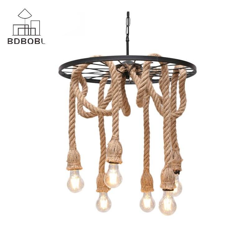 BDBQBL Vintage fer pendentif LED lumières 3/6 têtes chanvre corde suspension lampe pour chambre Restaurant E27 Loft main tricoté Hanglamp