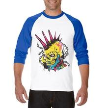 New Arrival Horror Skull Print T Shirt Men Cotton Clothing Male T-Shirt Mens Hip Hop Three Quarter Raglan Sleeve Tops Tee Shirts цена 2017