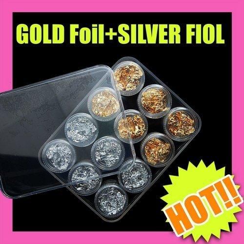 Nail Art Fast & Free  Shipping 5 sets x 12 pcsGold Silver Foil Paillette Nail Art Diy Makeup Beauty 058