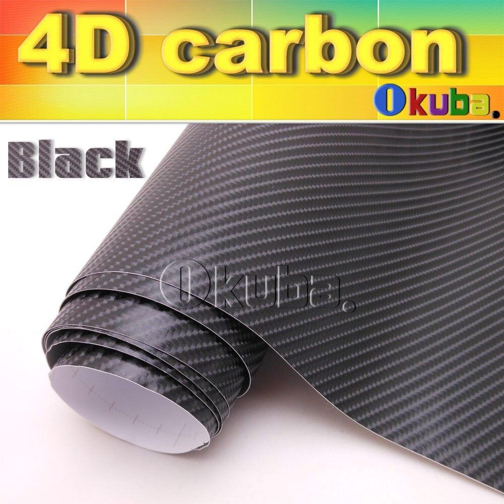 Excellente qualité noir 4D Fiber de carbone vinyle pour décalcomanies de voiture avec Air gratuit FedEx livraison gratuite taille: 1.52*30 m/Roll