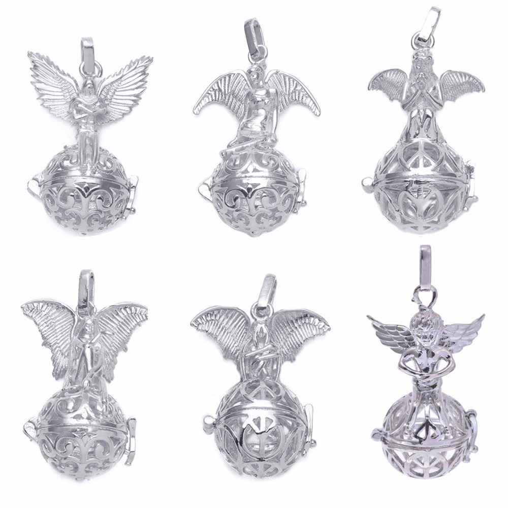 1pc Fit 16mm Ball Hollow Necklace Pendants Virgin Mary Bola Shaped Fairy Angel Wing Diffuser Locket For DIY Essential Oil