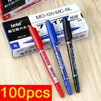 100pcs Dual Tip Permanent Marker Car Paint Marker Pen Set No Fade Fine Oil Markers for Metal CD Glass Paper (Black Red Blue)