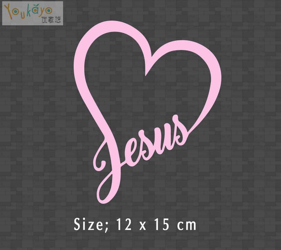 Hot Yesus Wallpaper Jantung Vinyl Decal Sticker Mobil Kaca Jendela Dinding Bumper Allah Mengasihi Kristus Alkitab.jpg q50