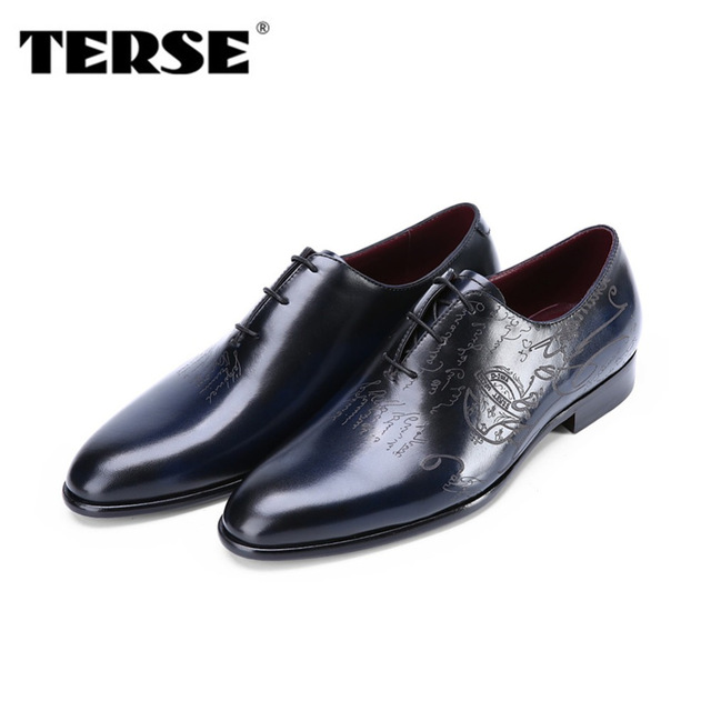 TERSE_Christmas gift male dress shoes in blue/ burgundy handmade leather oxfords mens genuine leather flat shoes T81515N0006